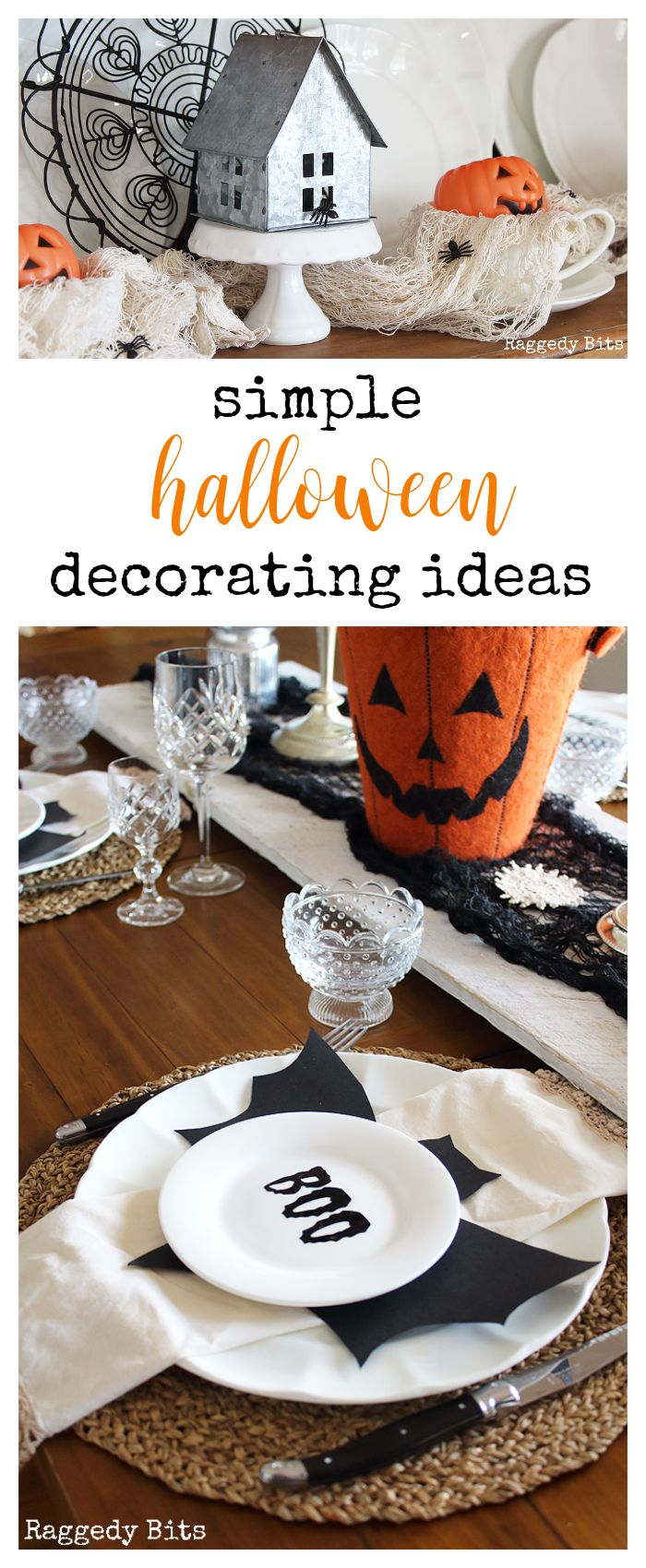 Sharing some fun simple ways to decorate for Halloween that won't break the budget | Simple Halloween Decorating Ideas | www.raggedy-bits.com #halloween #craft #decorating #ideas