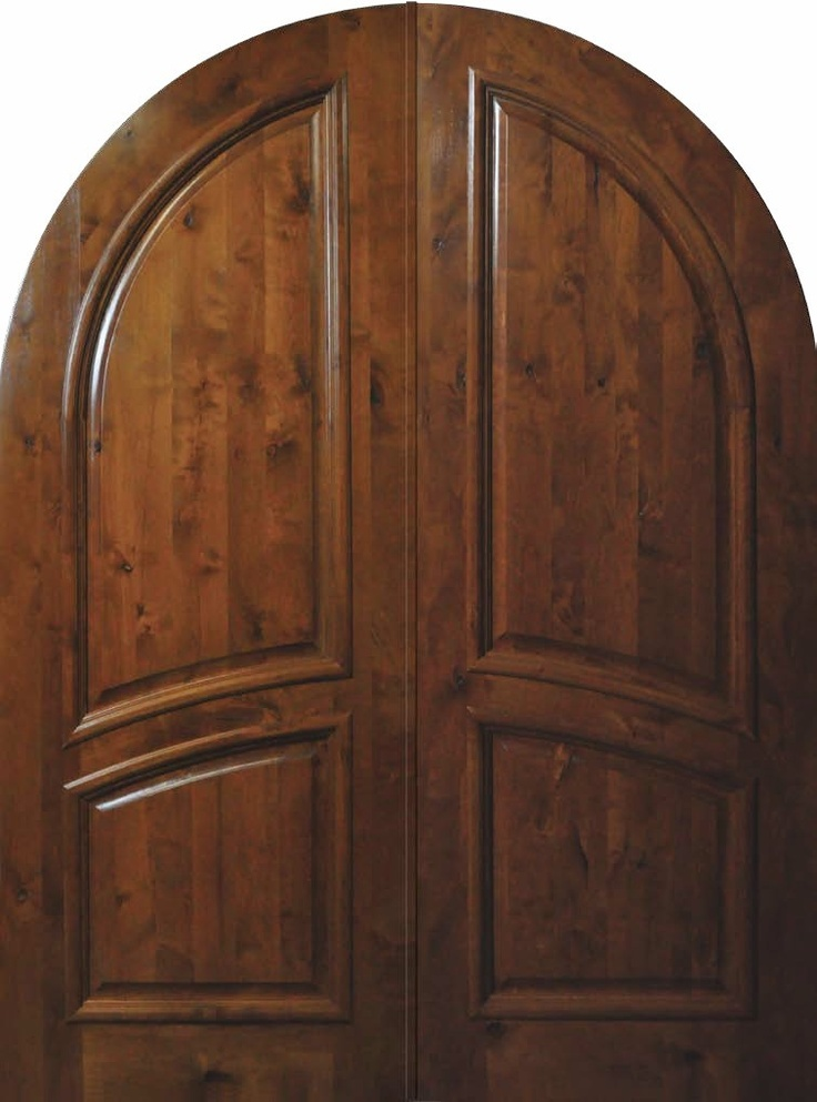 Slab front double door 96 wood knotty alder 2 panel round for Exterior double entry doors