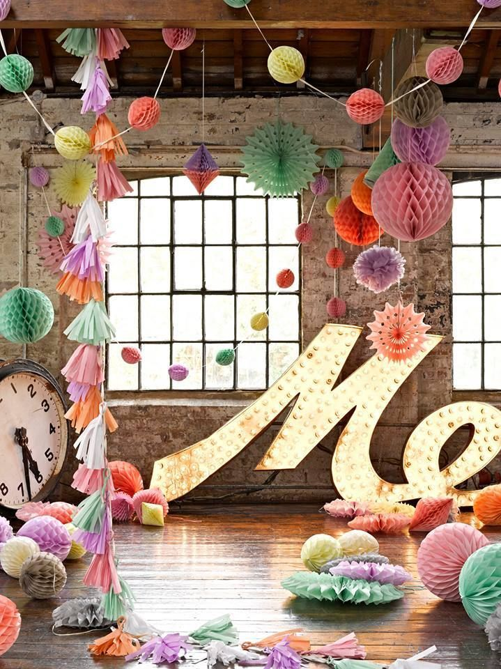 Hanging Decorations Mixed & Large Pastel Tissue Paper Honeycomb Balls Pom Poms