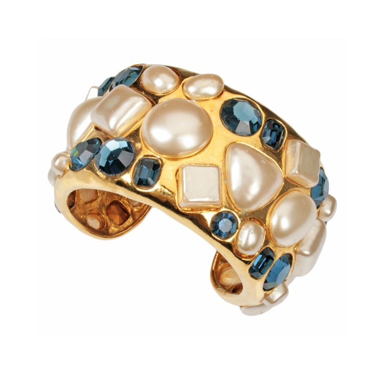 CHANEL Pearl and Jeweled Cuff Bracelet | 1stdibs.com