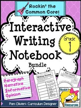 So excited about this!  Interactive Writing Notebook for first grade.  Grade 1 teachers will have a step-by-step approach to writing for the year!  Paragraph, Narrative, Informative, Opinion writing included with forms, practice, etc.