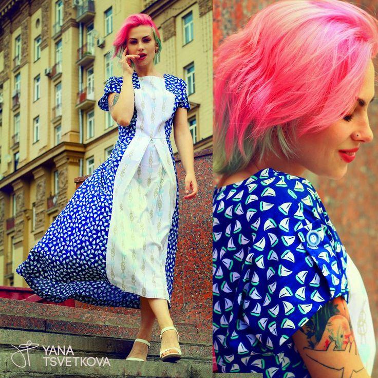 dress by Yana Tsvetkova. Pinkhair, tattoo model