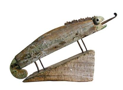 Mook!  Art from found objects and recycled materials, by Carlo Nanetti & Francesca Crisafulli.  Love this chameleon!
