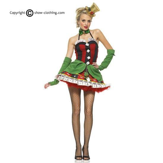 Practica tu cara de póquer para cuando te pongas nuestro traje de Señorita de la Suerte! El vestido viene directo de los casinos de Las Vegas y está formado por un vestido de poliéster y los guantes en verde que combinan con tu vestido.