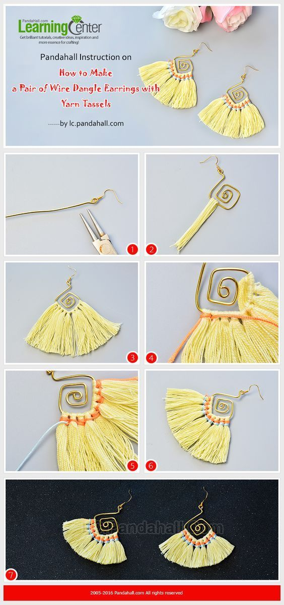 Pandahall Instruction on How to Make a Pair of Wire Dangle Earrings with Yarn Tassels from LC.Pandahall.com