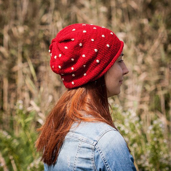 Red Polka Slouchy Beanie Hat / Fall Winter Red White by RUKAMIshop
