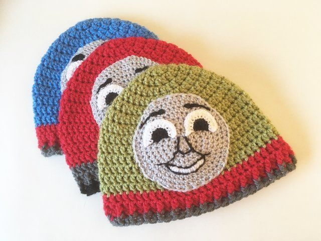 Free crochet pattern for Thomas Henry and James tank engine / train hats. Toddler size 1 to 3 yrs