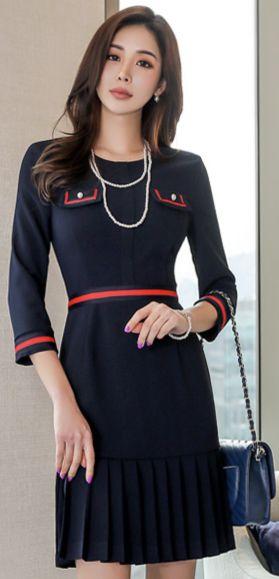 StyleOnme_Pearl Button Pleated Hem Dress #navy #chic #dress #pleated #feminine #koreanfashion #kstyle #kfashion #springtrend #seoul #dailylook