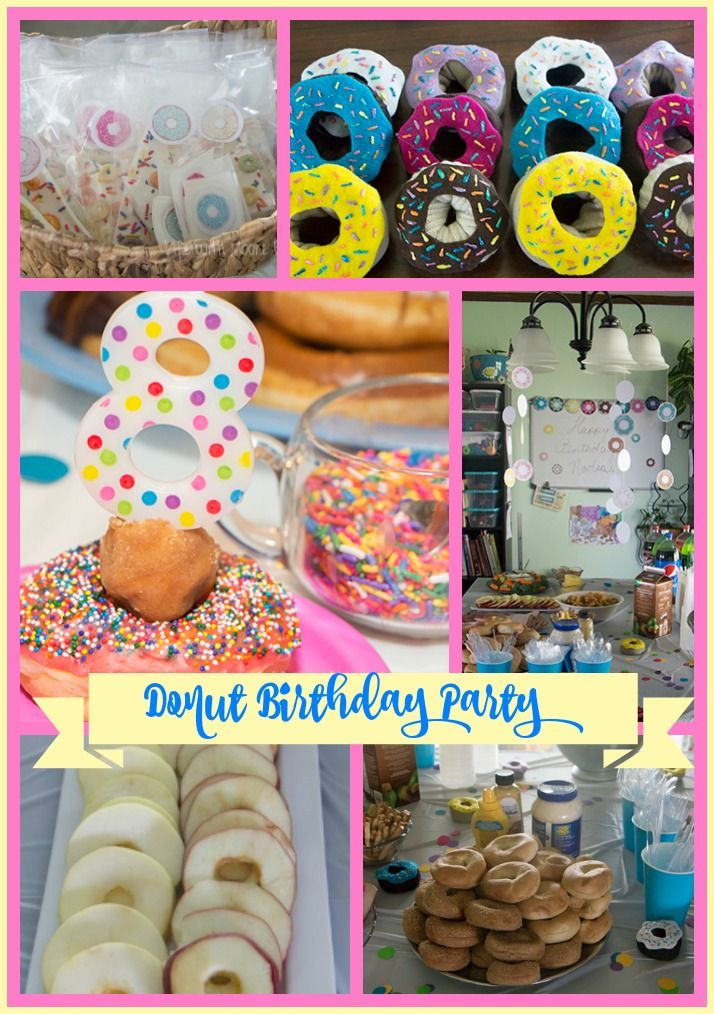 A look at our simple donut themed birthday party. With donut (or douhgnut) themed decorations, food, favors, and printables.