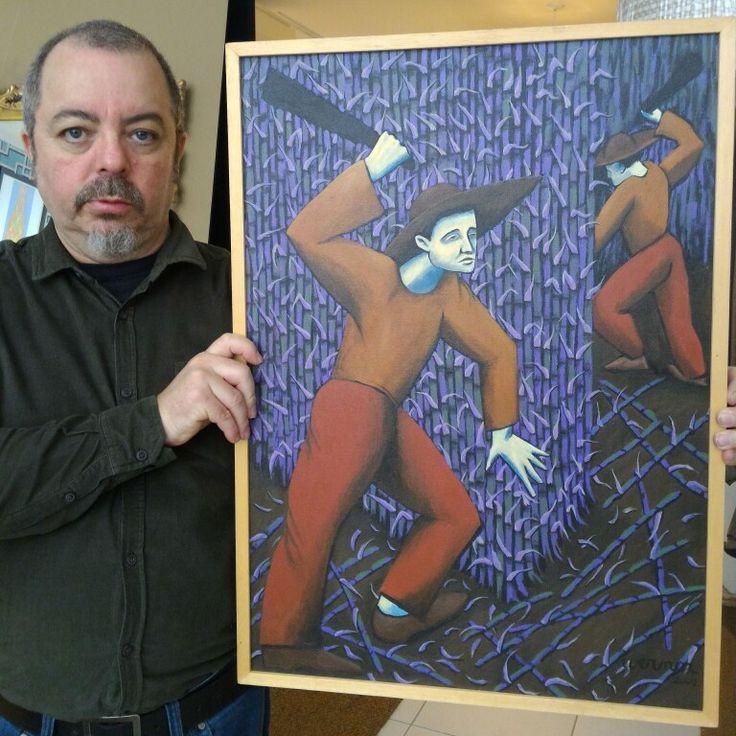 """Sugar cane"", acrylic painting, 2002"