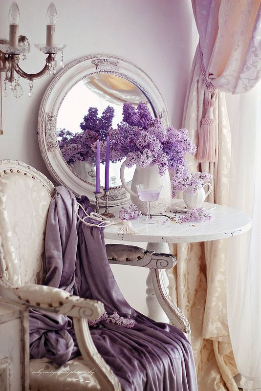I love lilacs and purple with shabby chic...