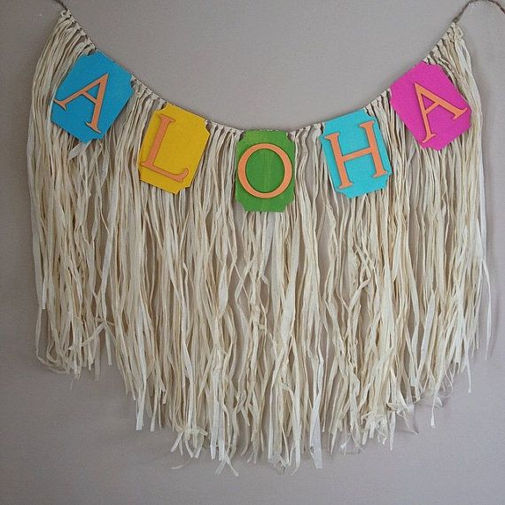 Luau Aloha Party Banner Garland by CreativelyDetailed on Etsy, $36.00