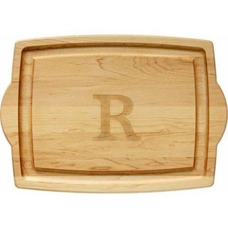 Personalized Oversized Wood Carving Board, 3-Line Message or Initial, Brown