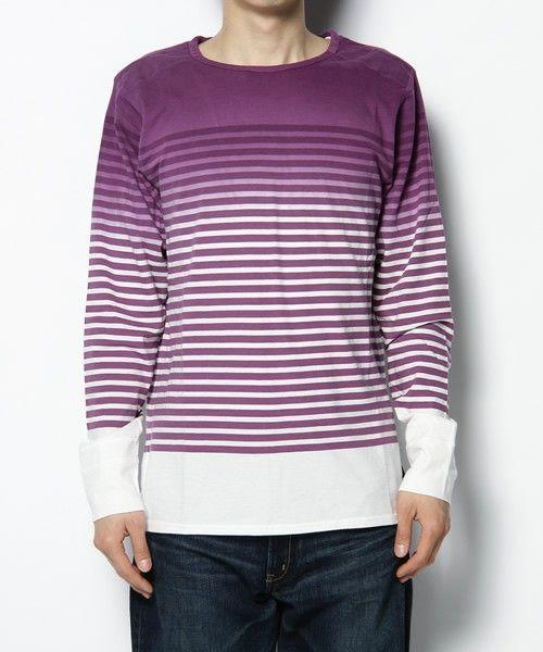 Paul Smith JEANS(ポールスミスジーンズ)のGRADATION BORDER L/S CUT(Tシャツ・カットソー)|パープル