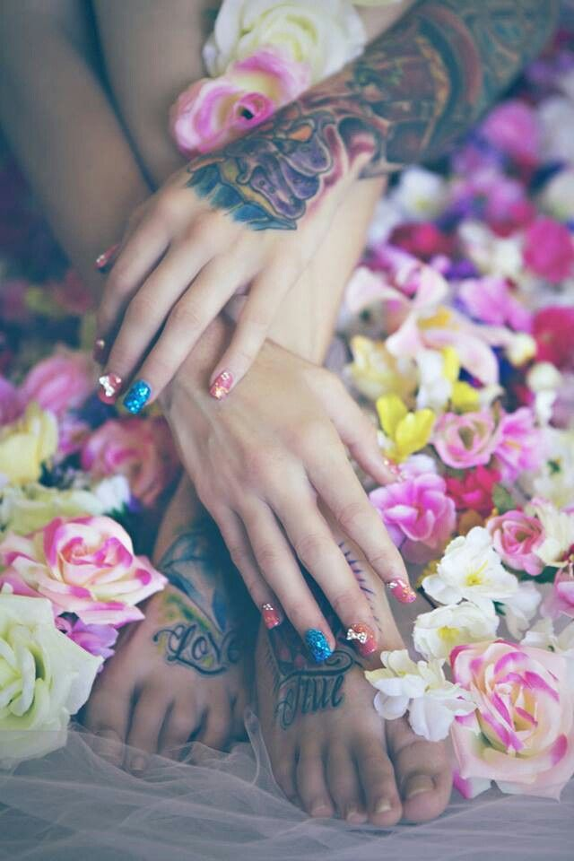 Hands and feet Tattoos  Flowers  Elegant Beauty  Photo  Photography  Nails nail art  https://m.facebook.com/MissSharnaStacey  Michelle Fleur Photography