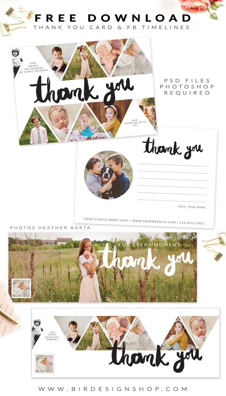 FREE - Thank you card and facebook timelines | Photoshop templates for photographers by Birdesign