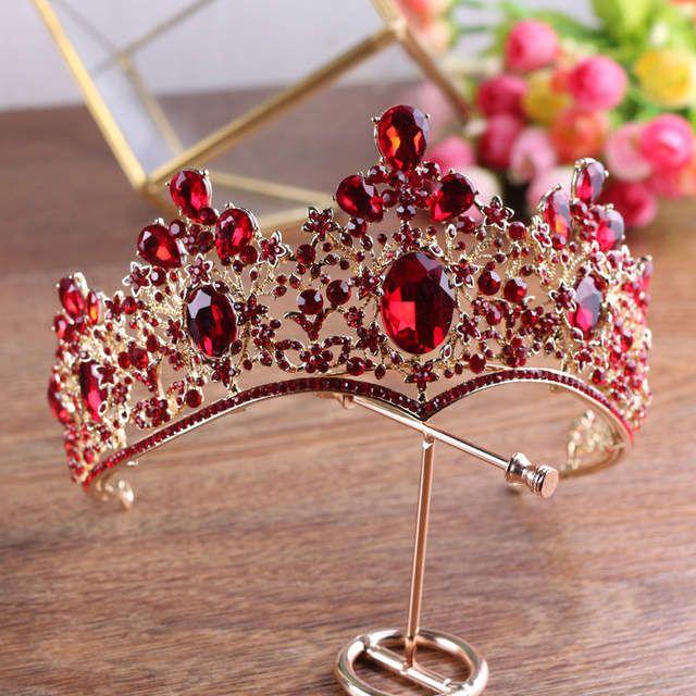 Accesorios para el cabello de las mujeres de la Corona de cristal verde rojo de oro de la vendimia barroca