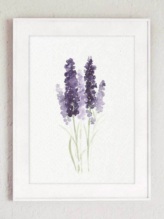 Lavender Flower Painting Canvas Botanical Print Kitchen Wall Decoration Lavandula Flowering Flower Painting Canvas Minimalist Watercolor Watercolor Art Prints