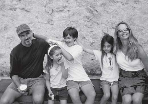 Steve, Eve, Reed, and Laurene Jobs in Italy, 2003