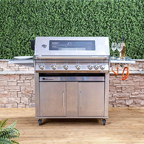 Premier 6 Burner Gas Barbecue - Stainless Steel, Side Burner, Cast Iron Grill