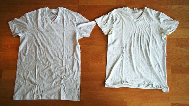 Fix a shrunk shirt by soaking it in  with Warm Water and Hair Conditioner for 5 minutes, then stretching it back in to shape