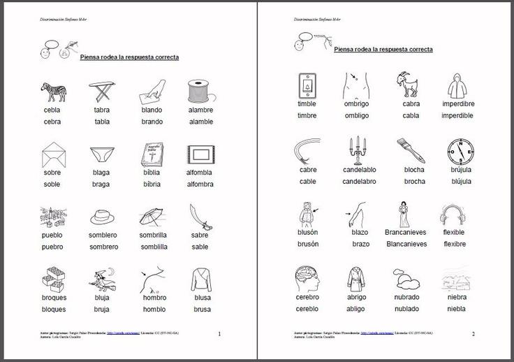 MATERIALES - Discriminación BL-BR.    Diferentes fichas para trabajar la discriminacón auditiba entre bl-br.     http://arasaac.org/materiales.php?id_material=882