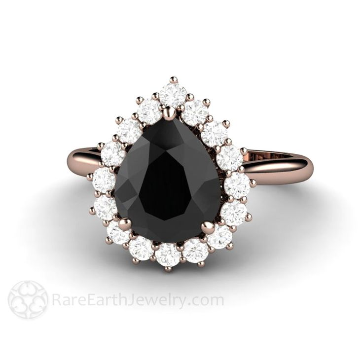 Black Stone Engagement Ring Black Moissanite with Diamond Halo Rare Earth Jewelry
