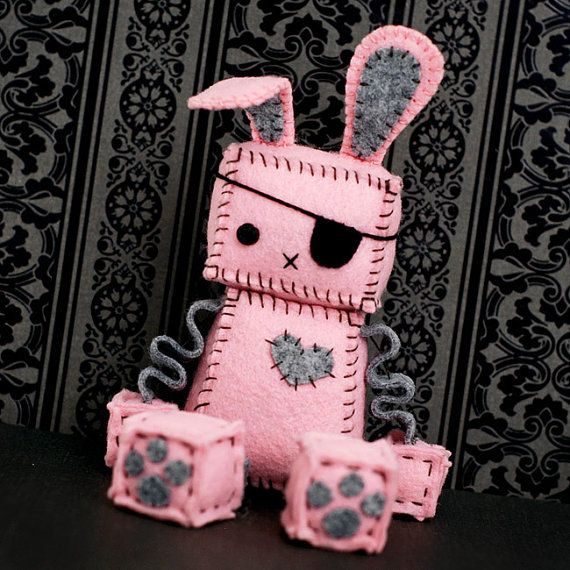 Pink Punk Robot Bunny with an Eye Patch Bunny Ears by GinnyPenny