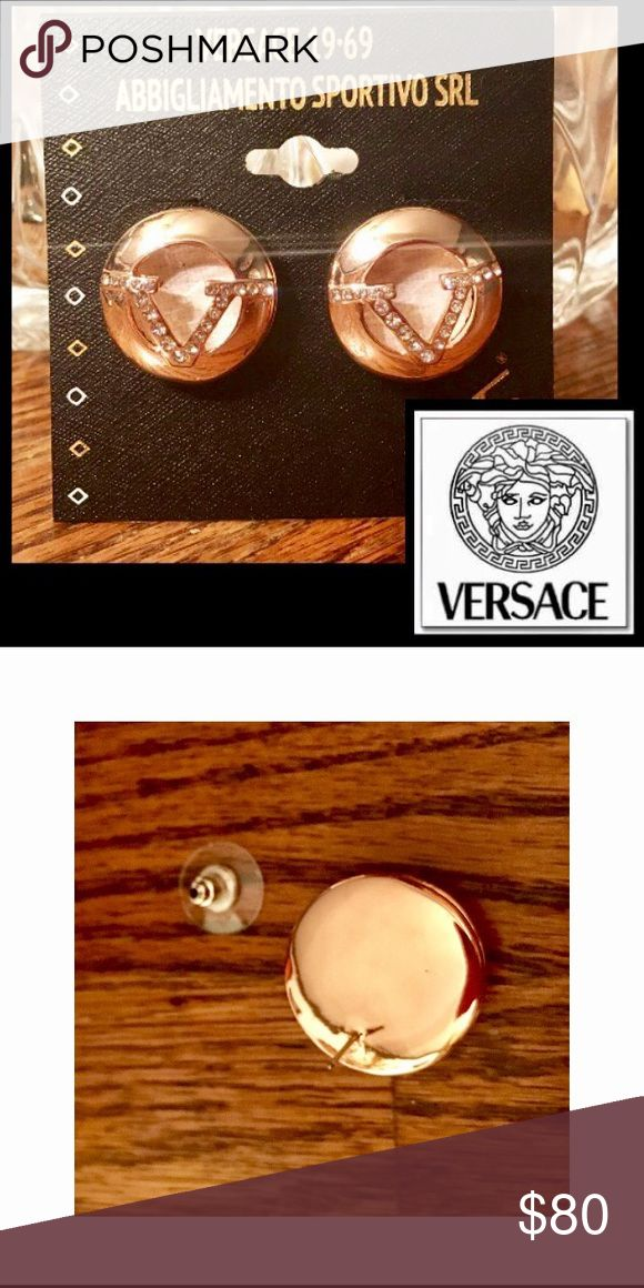 """🆕Versace 19V69🇮🇹Logo Encrusted Pierced Earrings Authentic Versace 19V69 Abbigliamento Sportivo❤earrings are crafted of sterling silver❤look chic,in Italian elegance and style ❤3/4""""❤High Polish Silver❤Rose Gold overlay❤the Versace •V• Logo encrusted in pave style crystals adding extra luster❤🚫trades Versace Jewelry Earrings"""