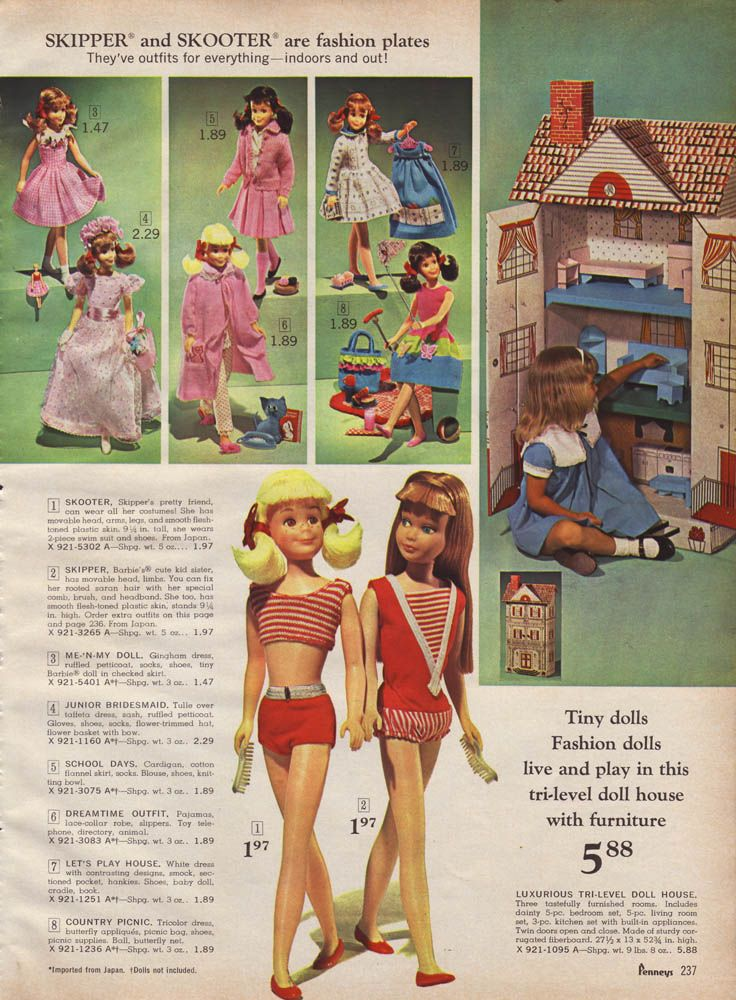 Skipper and Skooter Dolls and Cardboard Dollhouse from the J.C. Penney Christmas Catalog, 1966