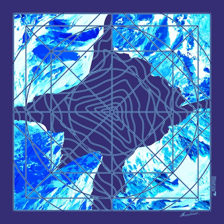 Foulard - Monte Bianco variante Blu - Prodotto dal Museo Nazionale della Montagna di Torino in collaborazione con Silvio Cattaneo Cravatte – è stato creato e disegnato da Maurizio Rivetti, non solo artista e serigrafo, ma anche alpinista conoscitore e frequentatore delle vette.