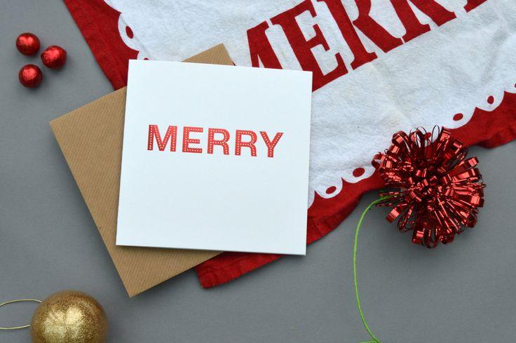 Merry Christmas Greetings cards - Letterpress Christmas Cards - Foiled Christmas…