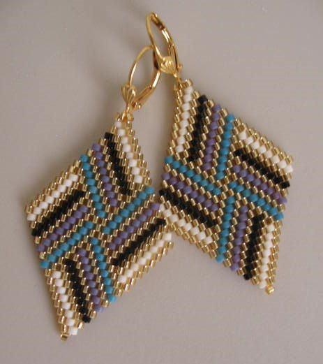 Bead Woven Diamond Shape Earrings  Turquoise/Purple by pattimacs, $25.00