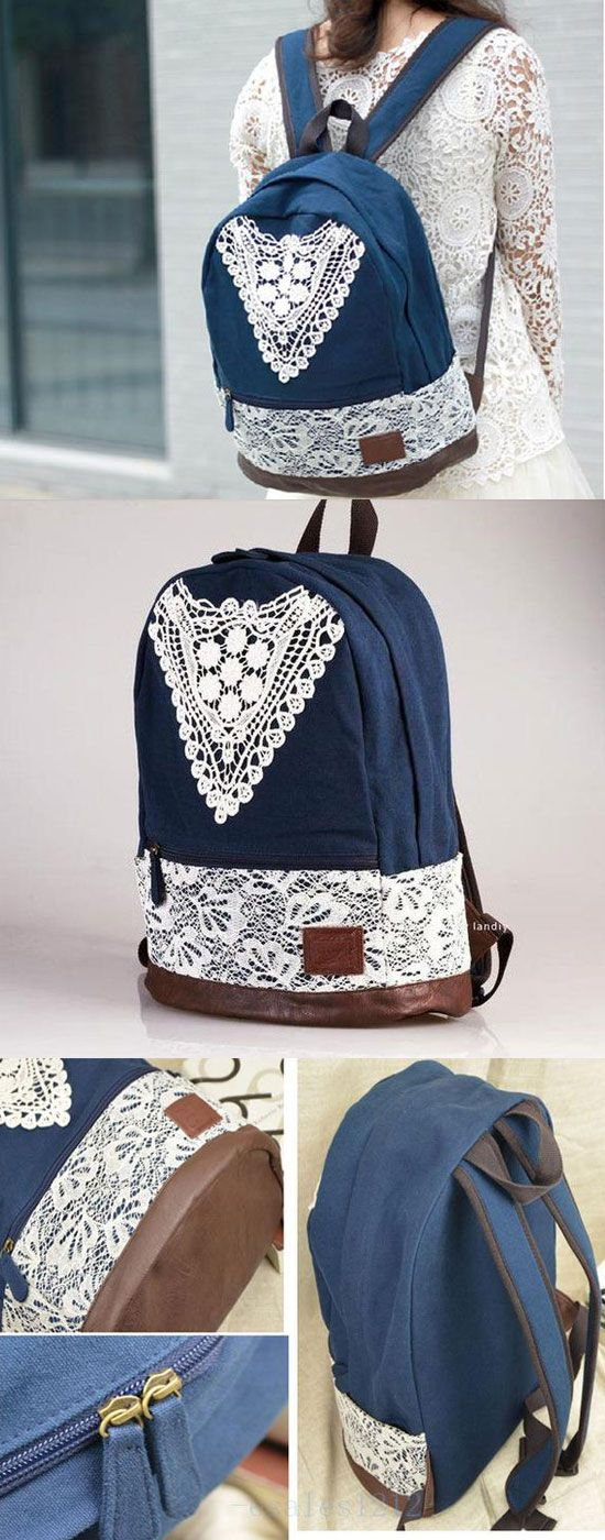 New School Fashion Triangle Lace Backpack for big sale #fashion #lace #backpack #triangle #lace #school #bag #cute