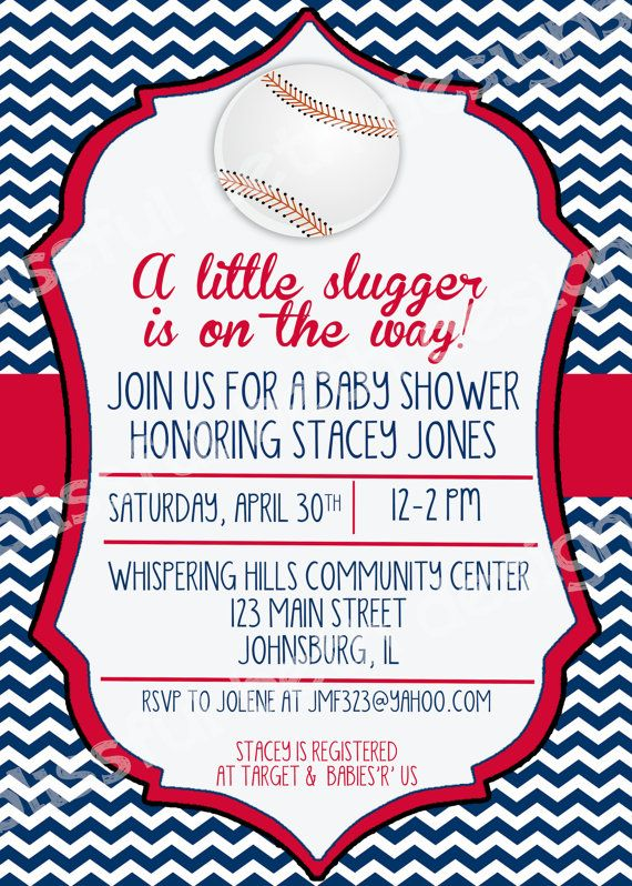 little slugger shower baseball themed baby shower invitation