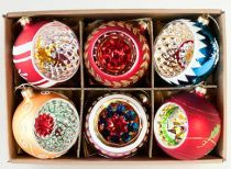 Set of Six Vintage Style Glass Reflector Ball Ornaments