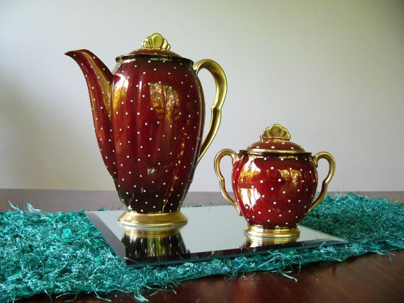 Carlton Ware Rouge Royale ... Coffee Pot and by DecorativeVintage