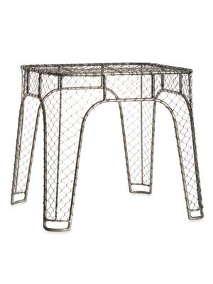 Chicken Wire side table. Which is so cool bc Daniel is an very good with creating anything that has to do with metal.