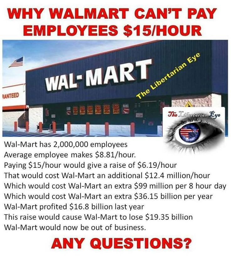 Written by a republican who doesn't know anything about economics.  Those employees who now have money to spend would then spend it at Walmart.  Increasing the money they profit by the amount or more then they gave out. Also adding more jobs.  This has happened everywhere wages have been raised.