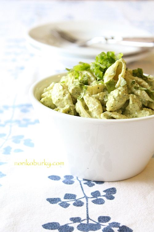 Creamy avocado and lime chilled pasta.