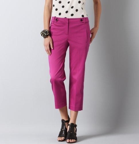 Marisa Cropped Hot Pink Pants In Cotton Sateen With Black