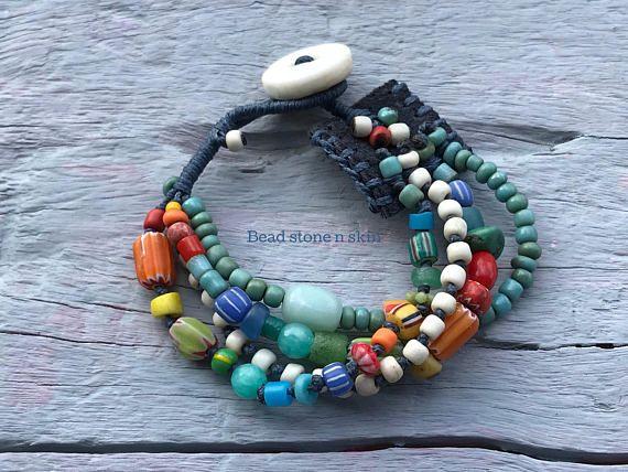 Boho hippie bracelet Ethnic multi strand bracelet Gypsy