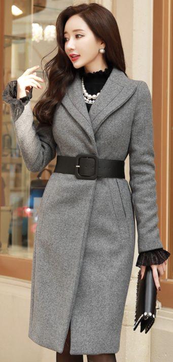 StyleOnme_Wool Blend Belted Slim Coat #gray #wool #coat #elegant #koreanfashion #kstyle #kfashion #falltrend #feminine #seoul
