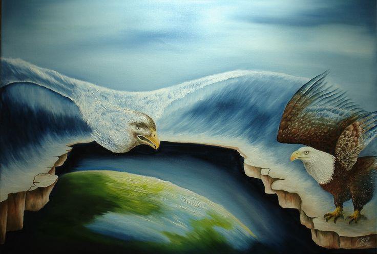 """""""Dreiging"""" olieverf op doek afm. 80 x 60 cm  sur-realistisch werk"""