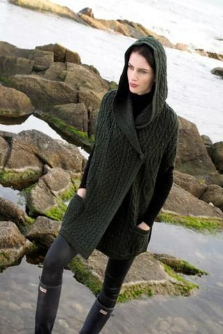 One Buttoned hooded cape