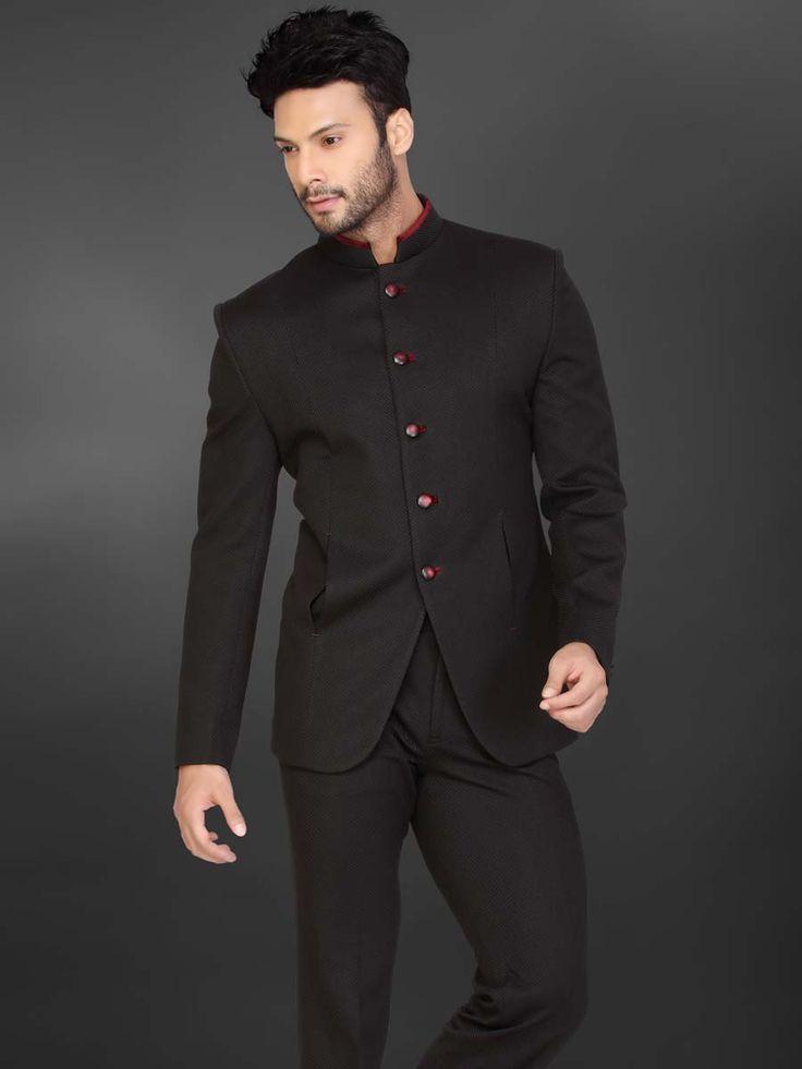 Чёрный мужской костюм-двойка