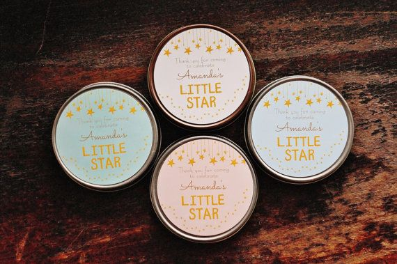 Set of 12-4 oz Baby Shower Favor//Sugar Scrub // Candle // Twinkle // Star // Girl Baby Shower // Boy Baby Shower // Gold // Stars // Star Theme // Antique // by TheDancingWick