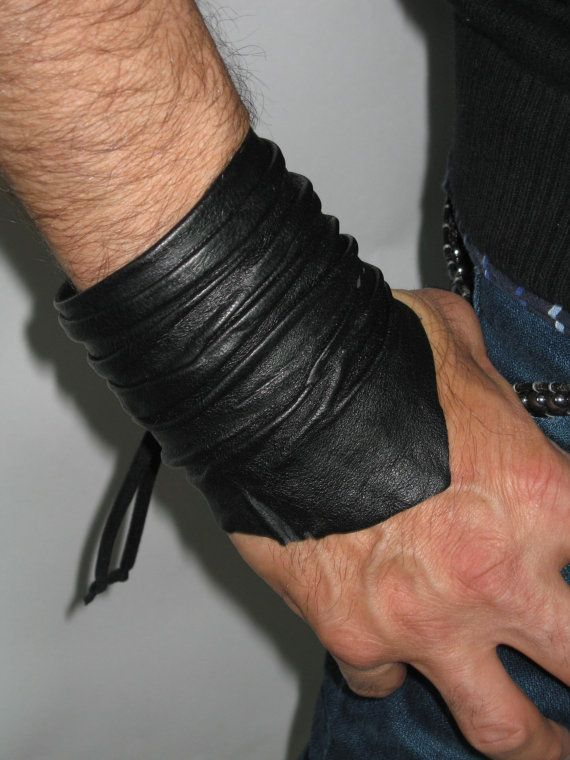 Sculpted Men's Leather Cuff Bracelet, Leather Wrist Band Wristband Handcrafted Jewelry