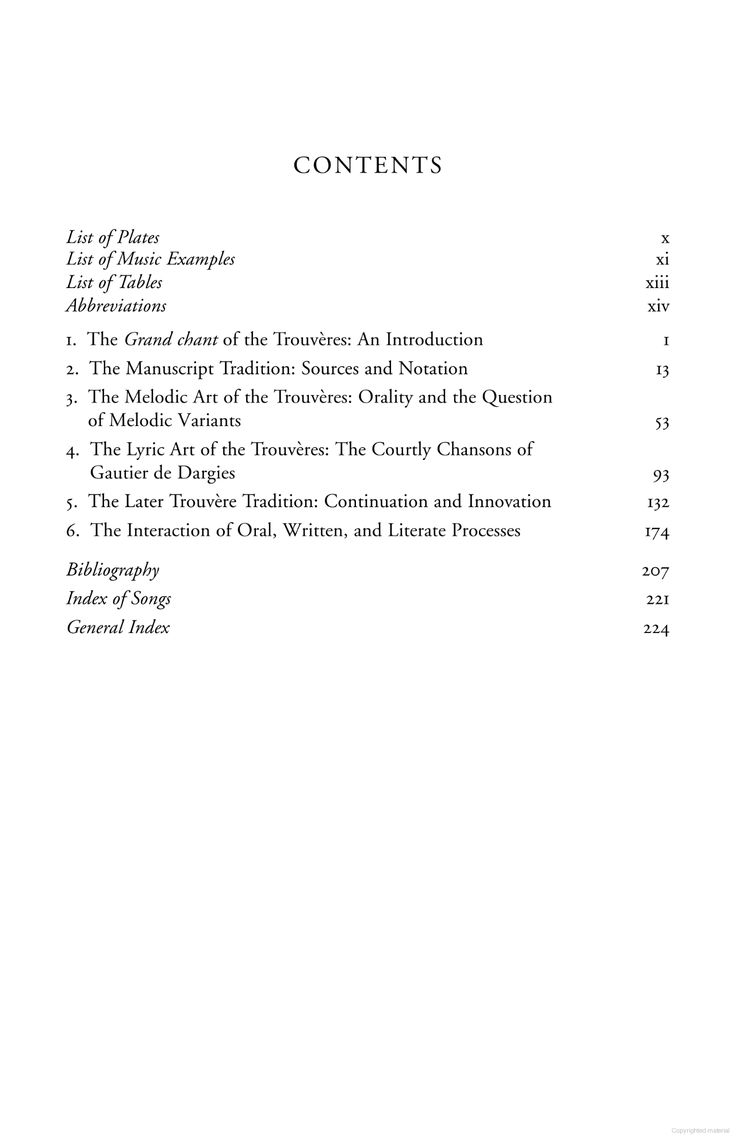 O'Neill, M. J. (2006). Courtly love songs of medieval France: transmission and style in the trouvère repertoire. Oxford University Press on Demand.