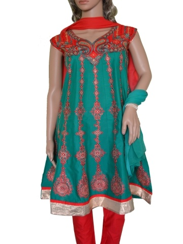Green and Red Anarkali style Cotton Salwar Kameez with Red yolk and Gold Embroidery over the entire Kurta. Additional cloth for optional medium size sleeves available. Match it with simple Gold Jwellery to wear on an Celebratory Occasion.